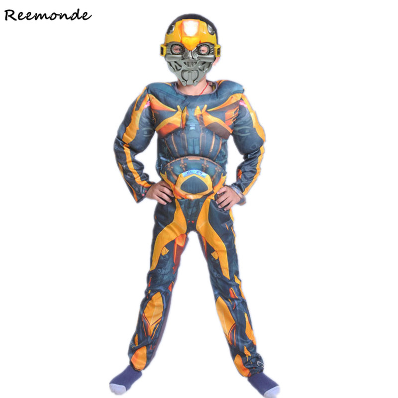Movie Muscle Optimus Prime Bumblebee Cosplay Costumes Superhero Bodysuits Mask Full Set For Boys Child Carnival Halloween Party