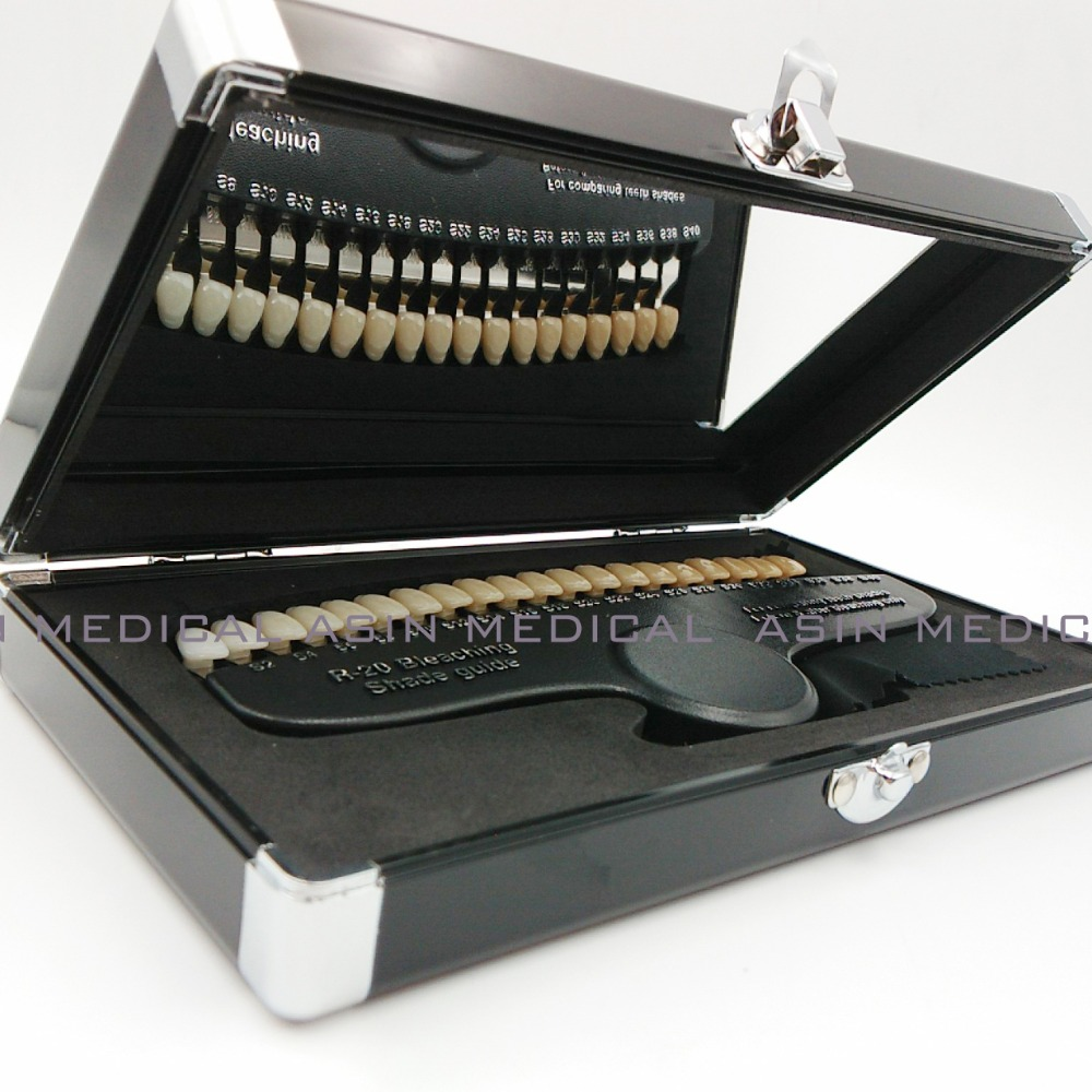 Comparateur de blanchiment dentaire de couleur de guide d'ombre 3D de 20 couleurs emballé par luxe avec l'accélérateur de blanchiment des dents de miroir