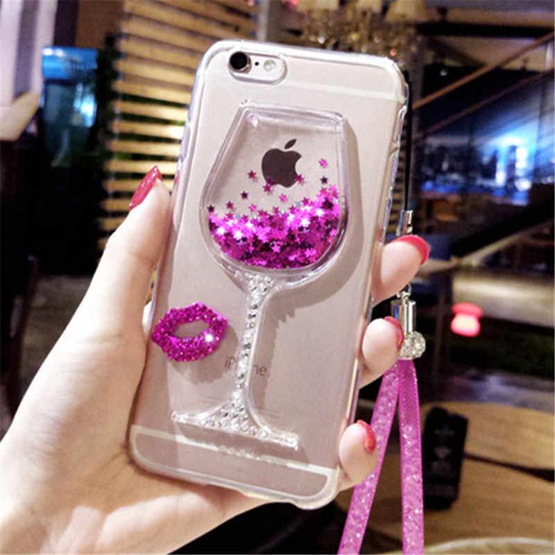 Pour Huawei Honor 8 Lite Pro 9 V10 7X Y7 Prime Y5 Y6 Y9 Nova 2 Plus 3i lèvres de diamant liquide sable verre de vin rouge coque de téléphone souple