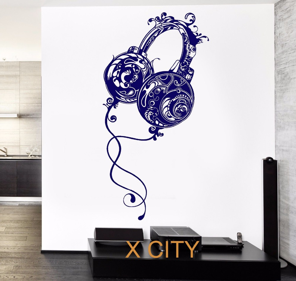 Music Headphones Rock Wall Art Decal Sticker Removable Vinyl Transfer  Stencil Mural Home Room Decor In Wall Stickers From Home U0026 Garden On  Aliexpress.com ...