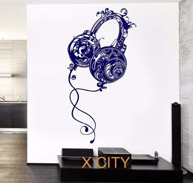 Music Headphones Rock Wall Art Decal Sticker Removable Vinyl Transfer Stencil Mural Home Room