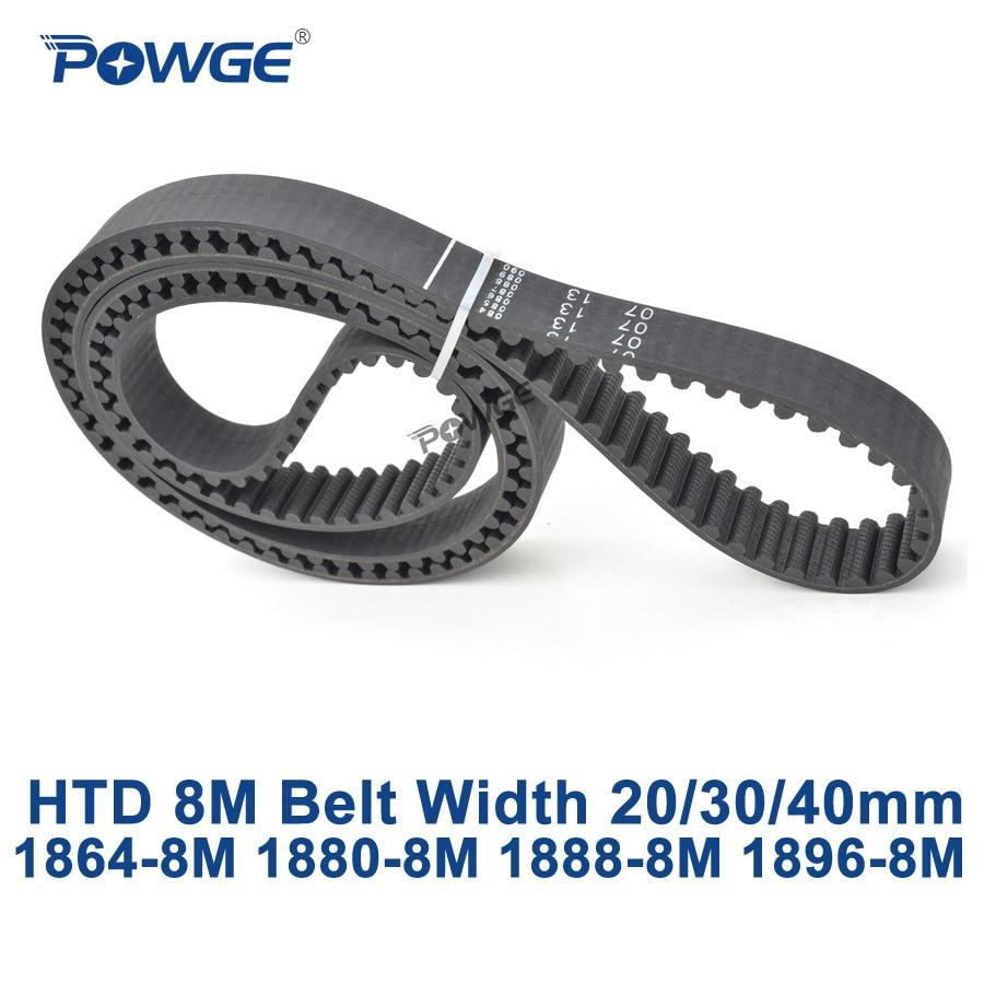 POWGE HTD 8M synchronous Timing belt C=1864/1880/1888/1896 width 20/30/40mm Teeth 233 235 236 237 HTD8M 1864-8M 1888-8M 1896-8M