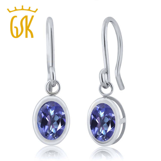 Solid 925 Sterling Silver 1.90 Ct Oval Natural Mystic Topaz French Wire Drop Earrings For Women Fine Jewelry GemStoneKing