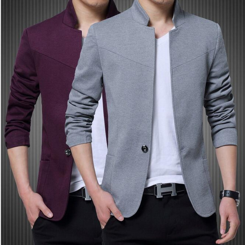 Chinese Traditional Men/'s Banded Collar Single Breasted Tunic Suit Blazer Coat A