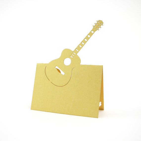 Guitar Tent Place Cards Music Wedding Bridal Baby Shower