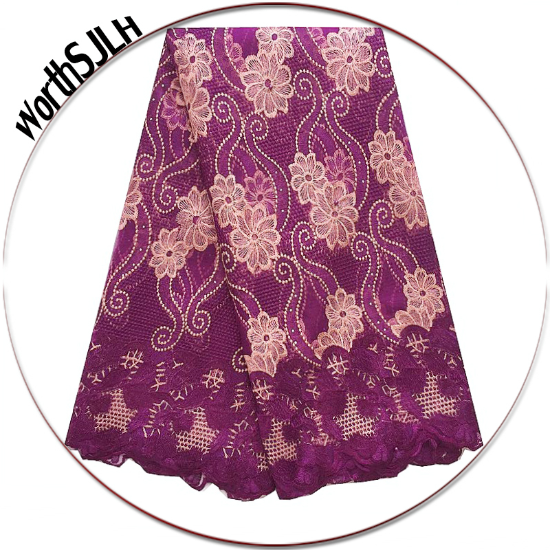 New African Lace Fabric 2018 High Quality Lace Designs Teal Green Mesh Tulle Lace Fabric Magenta