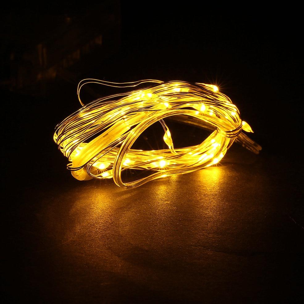 10pcs Yellow Light 5M 50 LED 3AA Battery Silver Wire String Light Fairy Lamp Decorative Light top flight diy yellow light motorcycle bike cranked tire valve light yellow silver 3 x ag10