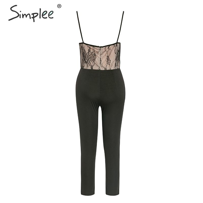 Simplee Sexy lace mesh embroidery women jumpsuit romper High waist party ladies long jumpsuit Spaghetti strap female overalls