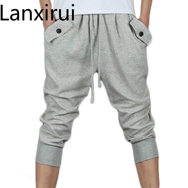 Hot Sale 2018 Summer New Men Pants Harem Sweatpants Capri Black Gray Wp13
