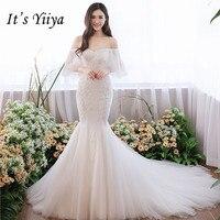 Это YiiYa Лодка шеи Свадебные платья Русалочки маленький поезд труба невесты платье с расклешенными рукавами кружевные платья De Novia Casamento HX009