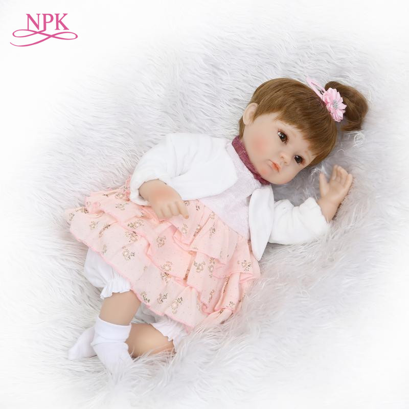 NPK Reborn Baby Doll Soft Silicone Vinyl Real Gentle Touch Cute Hair Style Toys for Children
