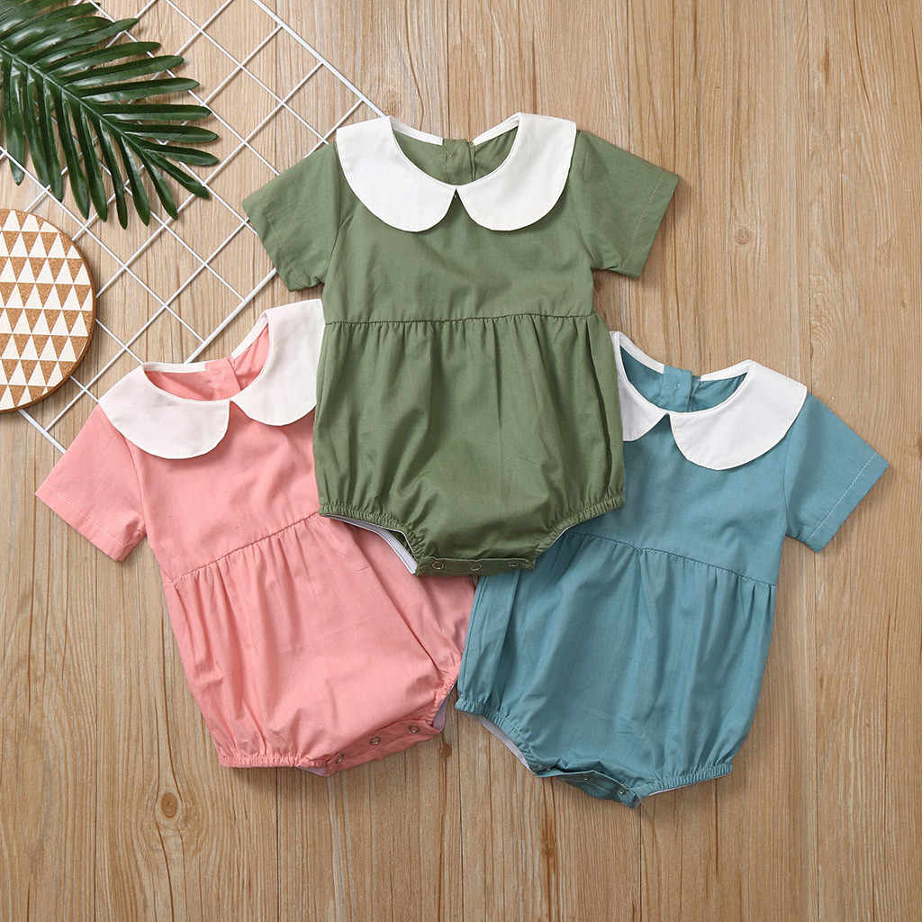 SAGACE Bodysuits baby girl clothes Boys Rompers Newborn Infant romper Peter Pan Solid overalls for children baby clothes Jun18