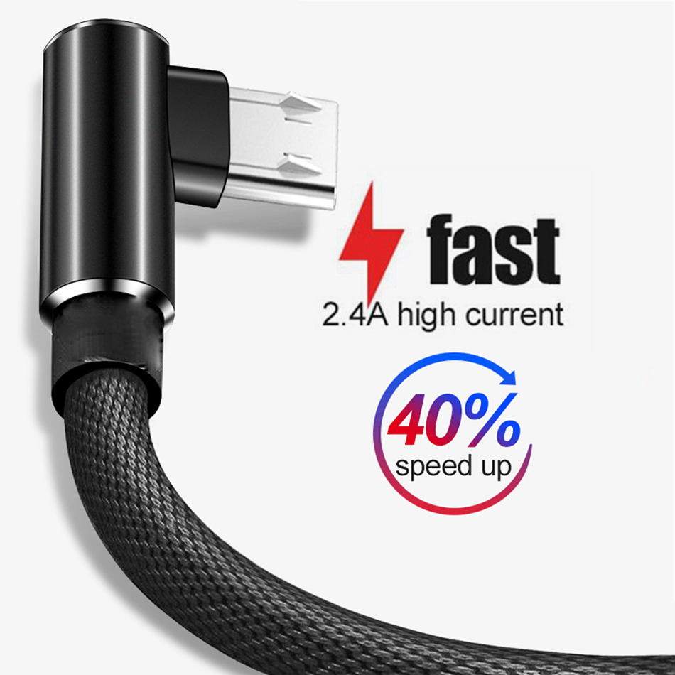 Oppselve 90 Degree Micro USB <font><b>Cable</b></font> Fast Charging <font><b>Charger</b></font> Phone Data Cord Microusb <font><b>Cable</b></font> For <font><b>Samsung</b></font> <font><b>A8</b></font> A7 A6Xiaomi Redmi Note 5 image