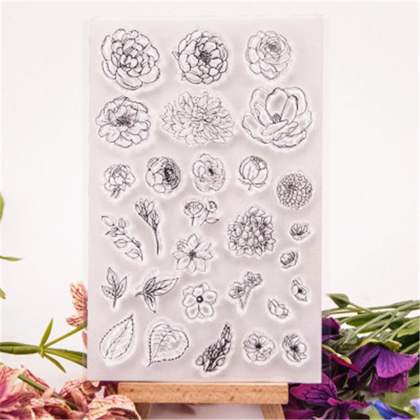 Горячая Распродажа цветочный лист прозрачный штамп/Силиконовая печать цветочный штамп DIY альбом для скрапбукинга/производство карточек