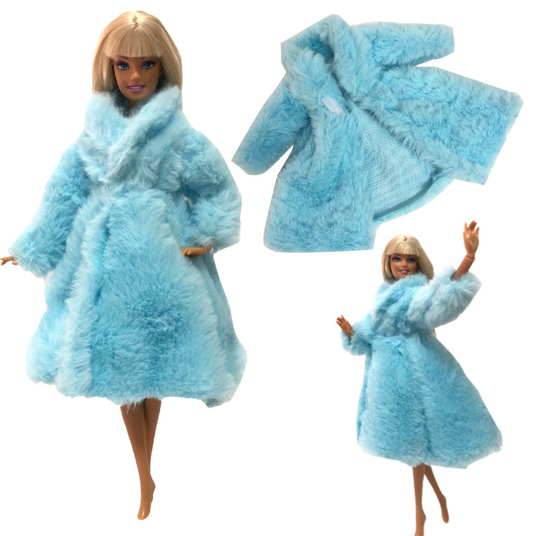 NK One Pcs 2020 Doll Aristocratic Dress Noble Blue Wool Coat Handmade Top Fashion Set For Barbie Doll Accessories Toy Gift 1001L