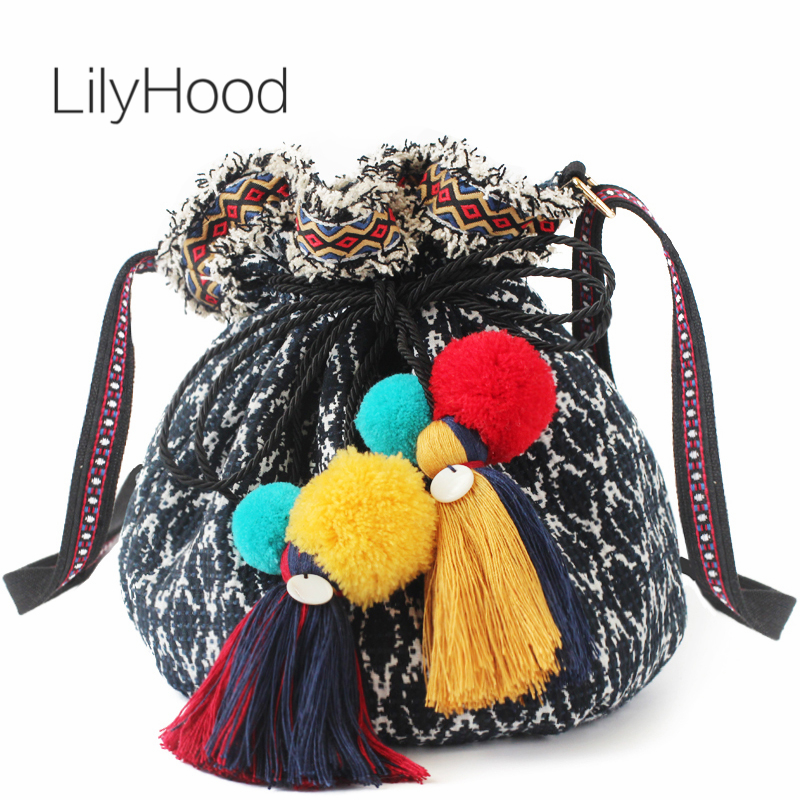 LilyHood Handmade Bucket Fabric Shoulder Bag Music Festival Bavaria Boho Chic Hippie Gypsy Fringe Pom Pom Cute Crossbody Bag цена