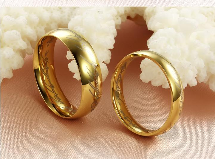 aliexpresscom buy 2 pcs one pair the lord of the rings tungsten carbide men bands wedding band finger gold jewel from reliable jeweled shirts suppliers - Lord Of The Rings Wedding Band