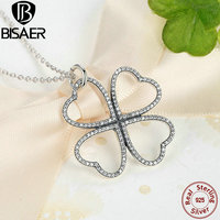 Summer Simple Collection 925 Sterling Silver Petals Of Love Clear CZ Clover Necklaces In Pendant Necklace