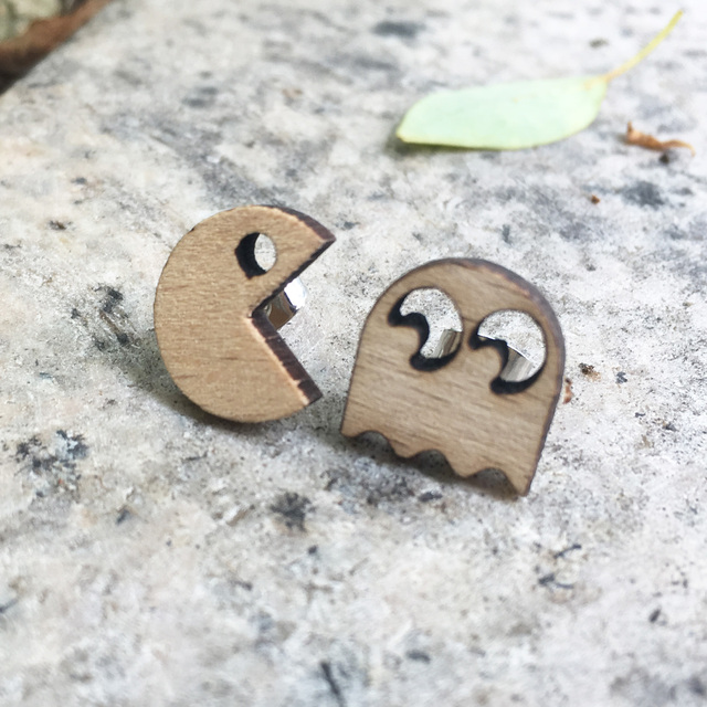 Cute Style Laser Engraved Handmade Earrings Pac Man 80s Namco Stud Geeky Wooden
