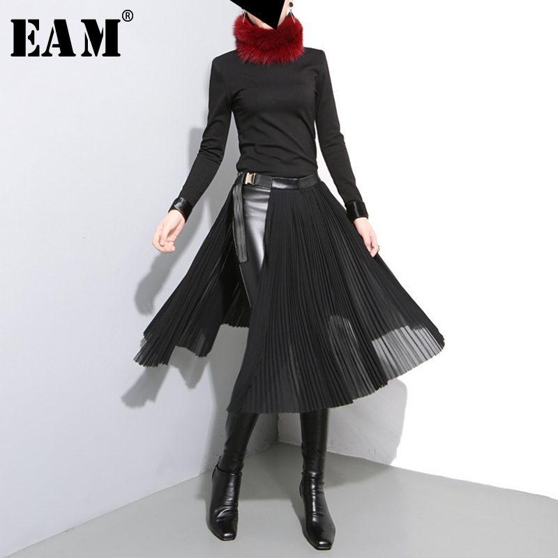 EAM 2018 New Autumn High Waist Solid Color Black Pleated Loose Split Joint Half body