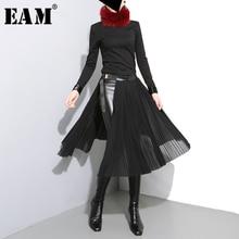 [EAM] 2017 mới mùa thu đông eo cao solid color đen xếp li loose chia phần half cơ thể váy phụ nữ triều thời trang JD10501