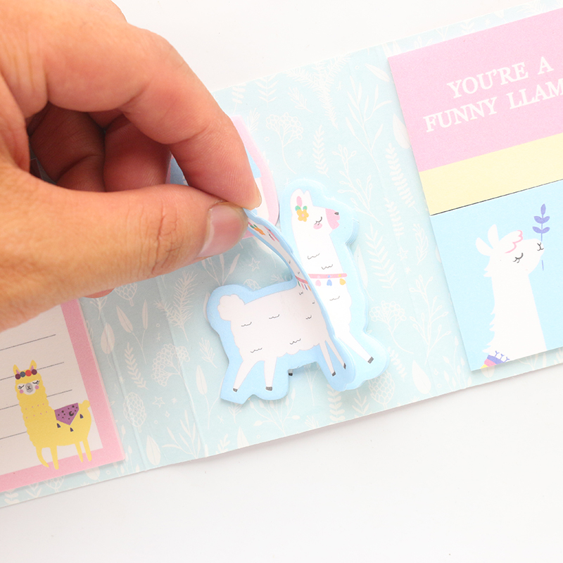 Cute Kawaii Korean Cartoon Alpaca Pattern Sticky Notepad Book Candy School Student Self-adhesive Memo Pad Stationery 240pcs