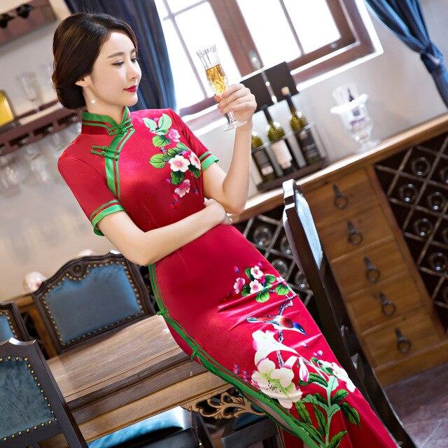 Cheongsam qipao kleid für frauen lange vintage