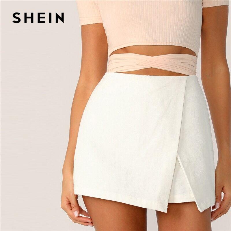 SHEIN Zipper Fly Back Solid Wrap Skort 2019 White Spring Summer Autumn Shorts Elegant Culottes Mid Waist Women Shorts 1