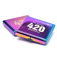 Чехол для сигарет цвета радуги 90x80 мм с держателем 20 сигареты обычного размера(85 мм* 8 мм) с 2 зажимами