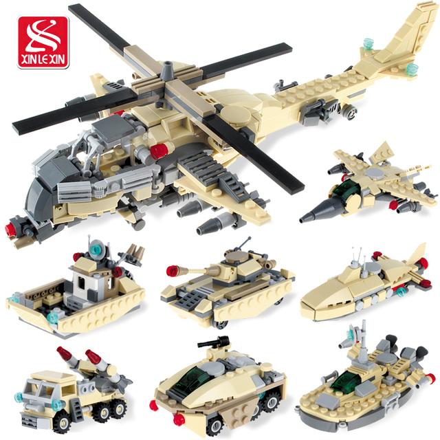 GUDI Nuevos juguetes educativos reunidos armas de guerra militar vehículo tanque plano 8 en 1 bloques de construcción de plástico juguetes para niños