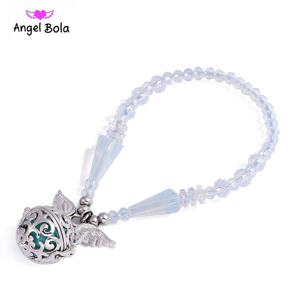 Crystal Perfume Locket Bracelet Stainless Steel Aromatherapy Angel Wing Locket Oil Diffuser Bracelet For Women Jewelry AB-003