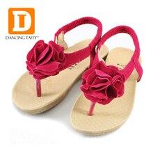 Детские сандалии с цветочным узором для девочек; коллекция года; Летняя обувь; детская модная повседневная удобная обувь на плоской подошве; сандалии-шлепанцы; тапочки для девочек