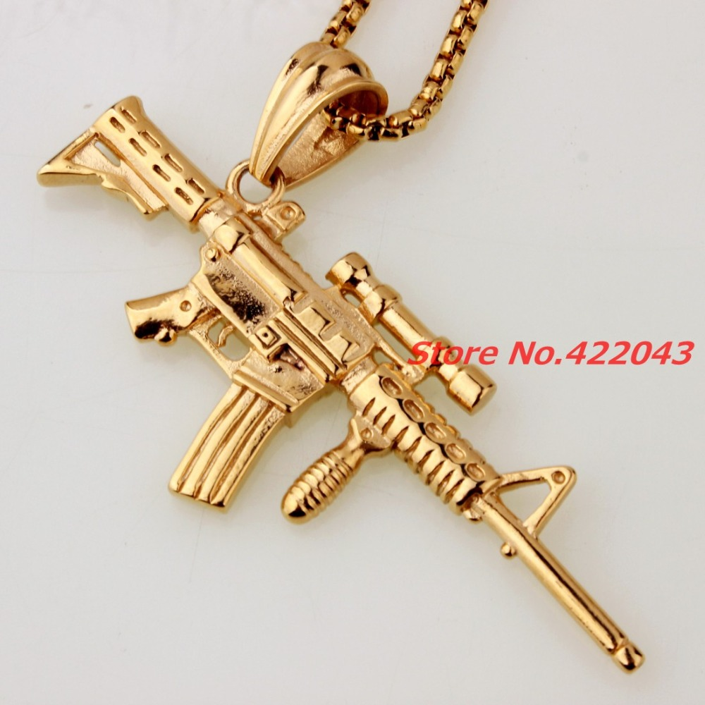 Punk Rock Strange New Creative Sniper Rifle Gun Gold color Mens Boys Pendant Necklace Birthday Gift Toy Gun Does not launch