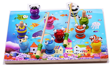 3D Children Fishing Game Wooden Ocean Jigsaw Puzzle Board Magnetic Rod Toy Outdoor Fun Toy Gift For Kid