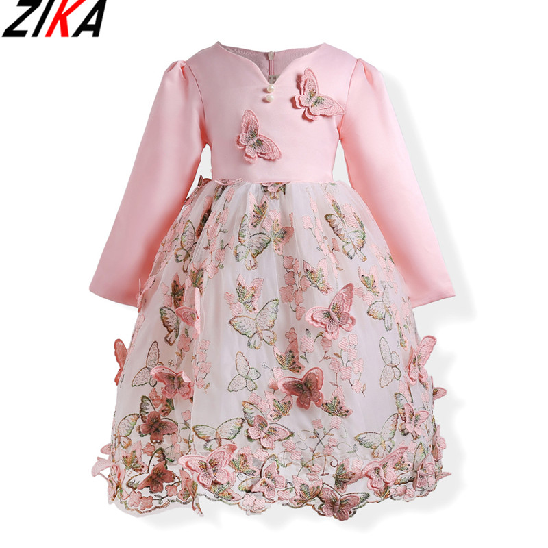 ZIKA Baby Girls Dress New Brand Embroidery Princess Dress Autumn Style Lace Sleeve Butterfly Design For Children Clothes 3-10T acthink 2017 new girls formal solid lace dress shirt brand princess style long sleeve t shirts for girls children clothing mc029