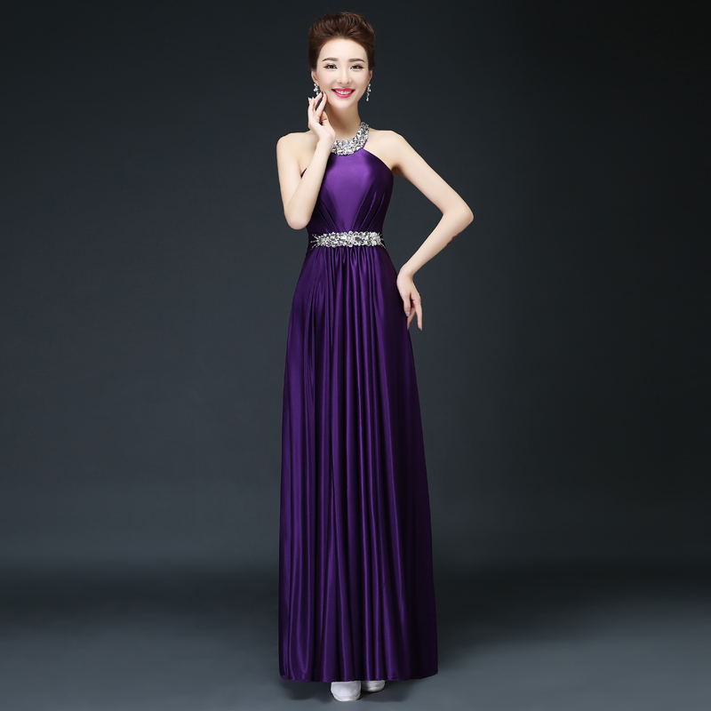 Vestido de festa longo para casamento vestido para madrinha new satin crystal Halter Backless purple burgundy   bridesmaid     dresses