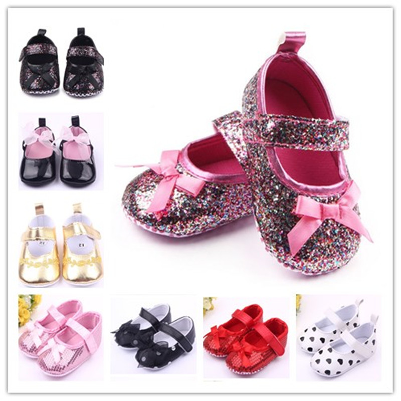 Glitter Baby Shoes Flash Gold Bow Soft Bottom Sneaker Anti