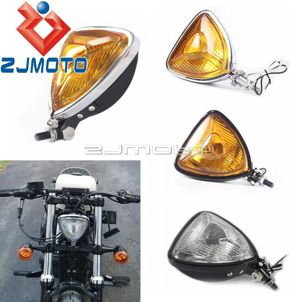 Motorcycle Vintage Triangle Headlight Aris Style Headlamp For Harley Bobber Custom Chopper Mini Thin Section Retro Lighthouse