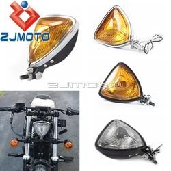 Motocykl Vintage trójkąt reflektor Aris styl reflektor dla harley bobber niestandardowy Chopper Mini cienki odcinek Retro latarnia -