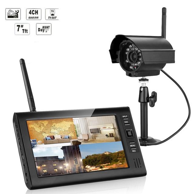 2.4GHz Wireless 4CH Quad Home Security System 4 Digital Cameras ...