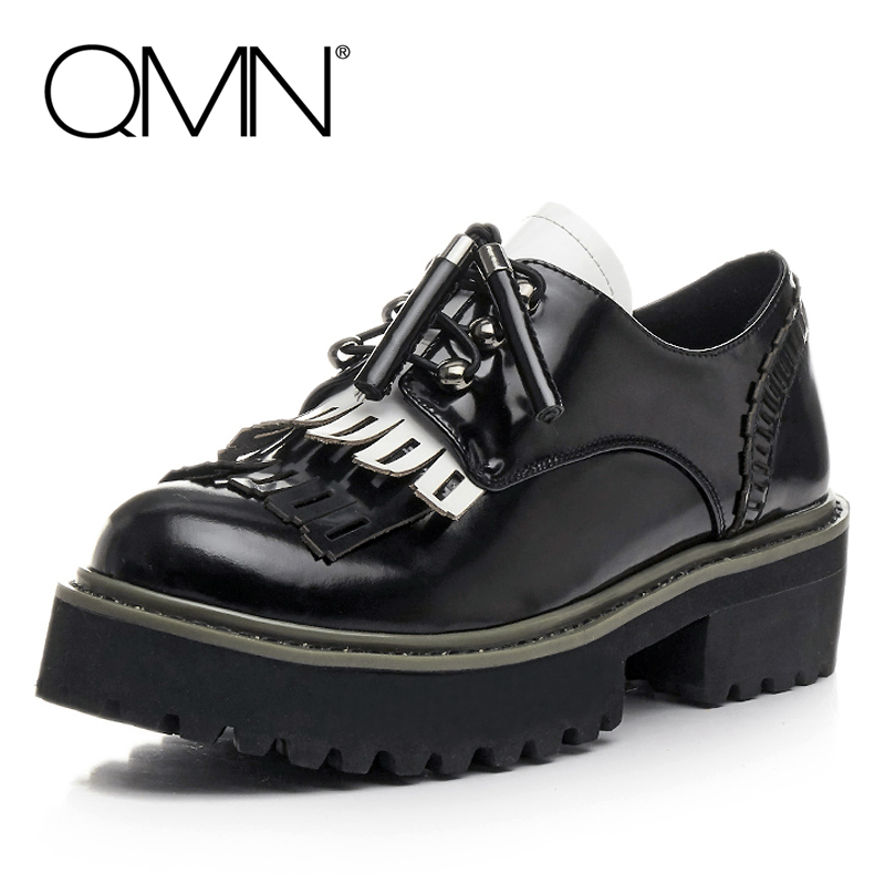 QMN women perforated-fringe tasseled glossed leather platform brogue shoes Woman Round Toe Platform Casual Shoes Woman Flats qmn women snake effect leather brogue shoes women round toe platform oxfords shoes woman genuine leather casual platform flats