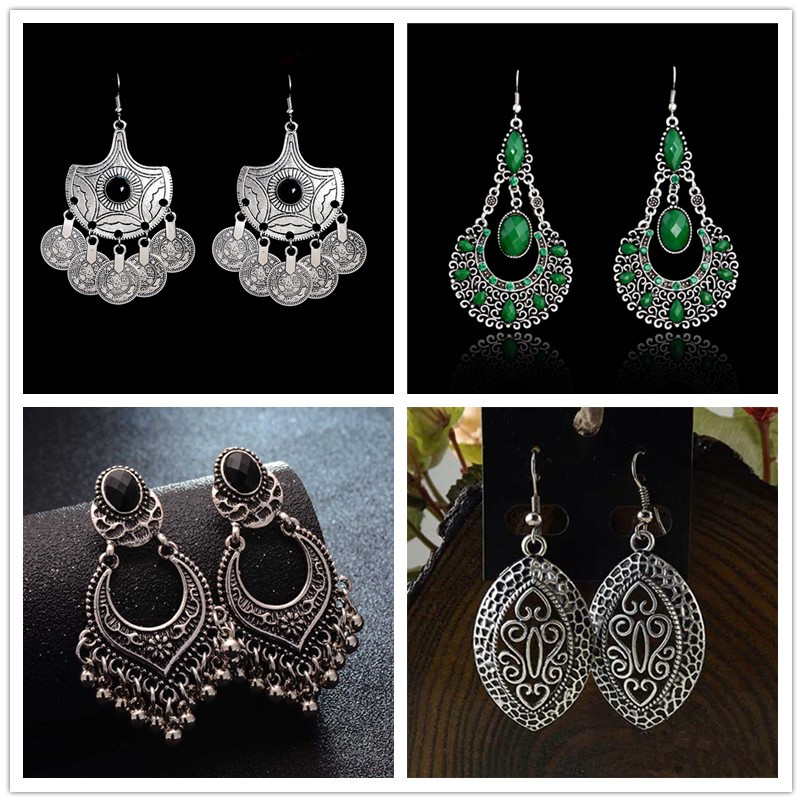 MISANANRYNE Vintage Ethnic Dangle Drop Earrings for Women  Bronze Indian Ornaments Accessories statement Jewelry