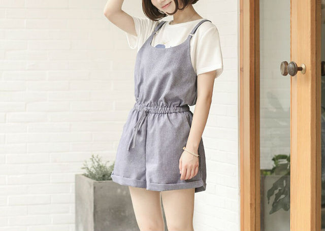 d6c68d1ffac Summer Japanese Mori Girl Rompers Cute Casual Solid Color Pocket Sleeveless  Short Jumpsuits Simple New Style Women Rompers