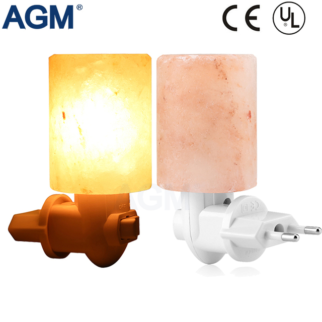 EU US Rotatable Cylinder Himalayan Salt Lamp Air Purifier Crystal Salt Rock Bedside lamp Night Light For Bedroom Corridor Toilet