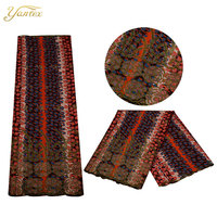YANTEX China Manufactory African Fabric Batik 6 Yards Per Piece Fashion Design Nigeria Embroidered Lace Fabric