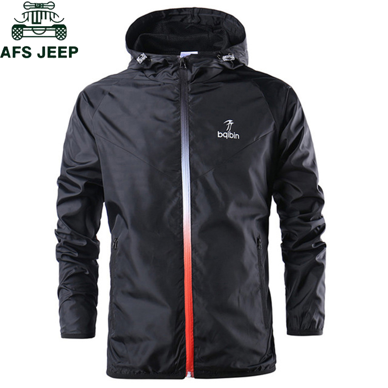 2019 New Spring Summer Mens Fashion Youth Windbreaker Running Training Suit Thin Jackets Hooded Casual Sporting Coat