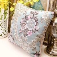 Caso travesseiro bordado tecido De Veludo Padrão geométrico Fronha flores Impresso 45x45 cm Euro Travesseiro Cobre Frete Grátis