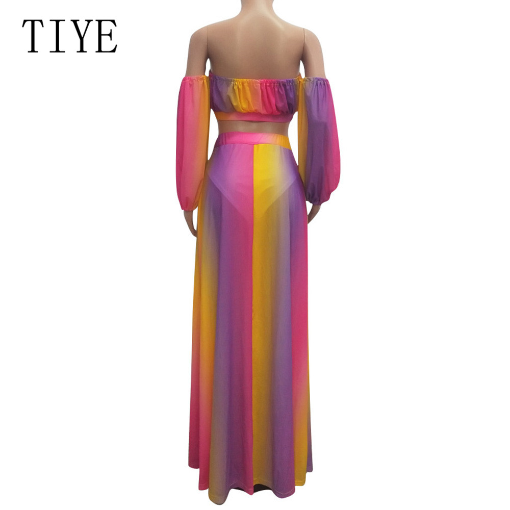 TIYE Two Pieces Set Sexy Strapless Tie Dye Rainbow Print Beach Mesh Dress Long Sleeve Women Party High Split Maxi Dresses in Dresses from Women 39 s Clothing