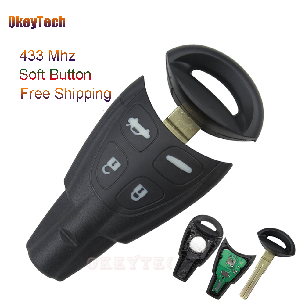 OkeyTech High Quality 4 Button with Insert Small Key Blade Smart Key for SAAB 93 95 9-3 9-5 Remote Control 433MHZ Free Shipping