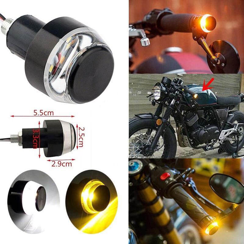 2X Universal 22mm Amber LED Handle Bar End Indicator Grip Plug Turn Signal Light